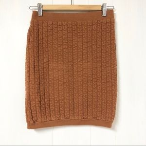 Vintage Camel Cable Knit Style Mini Skirt